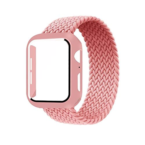 CGGA Case+strap For Apple Watch Band 44mm 40mm 42mm 38mm bracelet Fabric Nylon Braided Solo Loop strap series 6 se 5 4 3, (Band Color : Pink Punch, Size : 40mm)