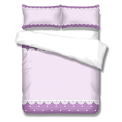 Duvet Cover and Pillowcases Bedding Set with 2 Pillowcases 3D Printed Bedding Set with Zipper Closure 1 Pieces Hypoallergenic Soft Microfiber Duvet Cover - Purple pattern,King Size 230 x 220cm