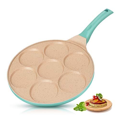 KUTIME Pancake Pan 7Cup Mold Blini Pan Silver Dollar Breakfast Pan Nonstick Breakfast Griddle Mini Pancake Maker Fried Egg Cooker Blue
