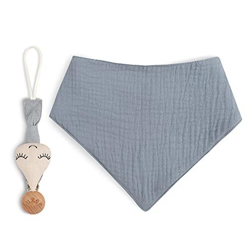 Sugee Schnullerkette Schnullerband Jungs und für Lätzchen Dreieckstuch Sauger Holz-Clip (Knoblauch + blaues -Lätzchen)