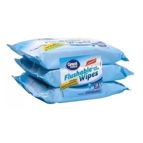 Great Value Fresh Scent Flushable Wipes Refills, 42 sheets (Pack of 6)