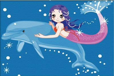 Diy oil painting, paint by number kits for kids - Mermaid 20X30cm.