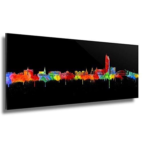 Kunstbruder Skyline Offenbach - Acrylglas - Neon (div. Größen) - Kunst Druck auf Acrylglas 50x140cm