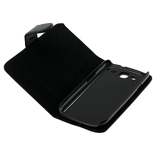 Mobilfunk Krause - Book Hülle Etui Handytasche Tasche Hülle für Samsung GT-I9300 / I9300 (Schwarz)