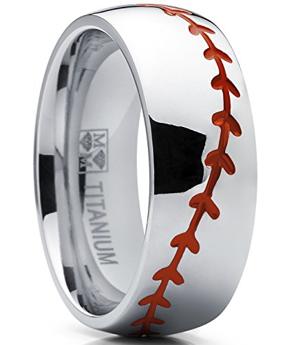 Metal Masters Co. Men's Titanium Sports Baseball Ring Wedding Band with Red Stitching, Comfort Fit, Dome High Polish Finish 8mm 13