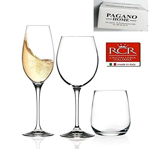 RCR Pagano Home Invino Servizio Bicchieri 18 Pezzi per 6 Persone Composto da 6 Bicchieri Acqua, 6 Calice Vino, 6 Calice Spumante