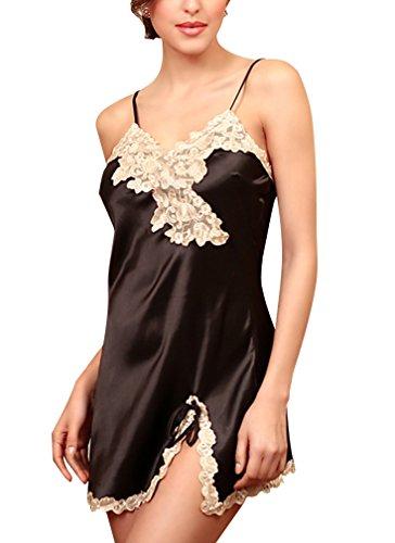 BININBOX Damen Sexy Nachthemd aus Seide Silk Nachtkleid Nachtwäsche mit Spagetti-Trägern Sexy Negligee (Deutsche Gr.M/Hersteller Gr.XL, Schwarz)