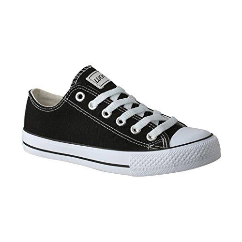 Elara Lucky-Z Unisex Sneaker Textil Turnschuh Low top Chunkyrayan 089-A-Sch-42