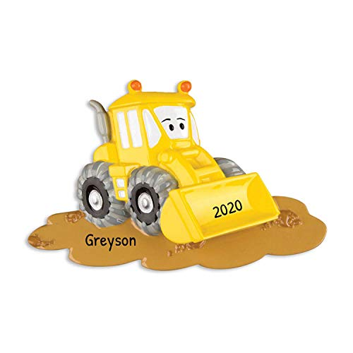 Personalized Bulldozer Christmas Ornament - Yellow Mighty Construction Toy with Eyes Machine Caterpillar Construction - Boy Toddler Holiday Disney Pixar Cars El Materdor - Free Customization
