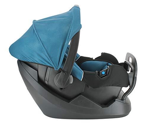 NANIA Siège Auto BEONE Groupe 0+ (0-13kg) + Base ceinturée - Protection latérale - 4 étoiles ADAC Luxe Bleu