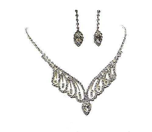 fashionjewellery4u Crystal Diamante collana in argento orecchini da sposa o damigella d' onore vestito gioielli set