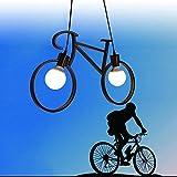 De luz colgante de lámpara de bicicleta 3D Cool Iron Art Fun 3D estilo simple con cable negro |Lámpara colgante Lámpara LED Lámpara de techo Lámpara de bicicleta Lámpara colgante Lámpara d