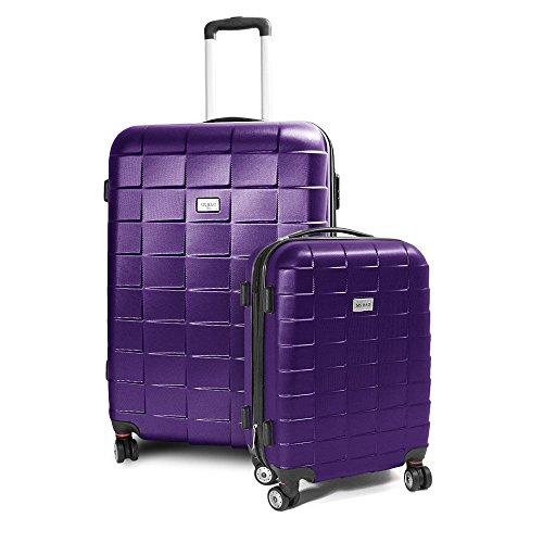 BERWIN® Kofferset M + XL 2-teilig Reisekoffer Trolley Hartschalenkoffer ABS Teleskopgriff Modell Squares (Lila)