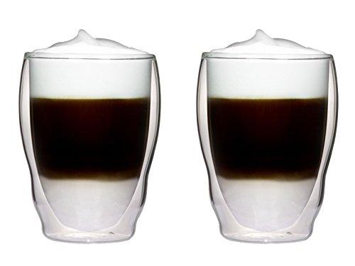 2 x 270 ml dubbelwandige thermoglazen golfvorm met zweefeffect voor cappuchino, latte macchiato, cocktails, thee, sappen, bier, ijs enz. Aquartus van Feelino
