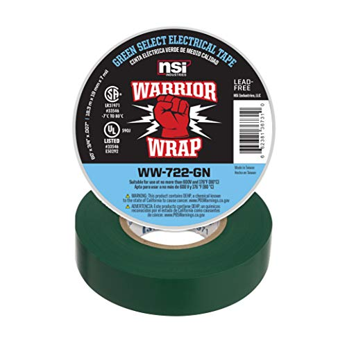 NSi Industries WarriorWrap Select 3/4 in. x 60 ft. 7 mil Vinyl Electrical Tape, Green (WW-722-GN)