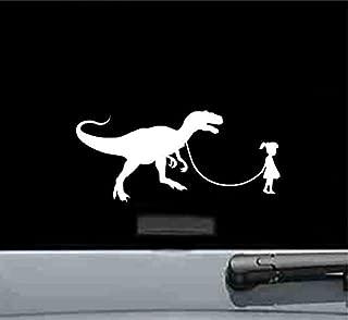 JS Artworks Girl Walking A Raptor Vinyl Decal Sticker (White)