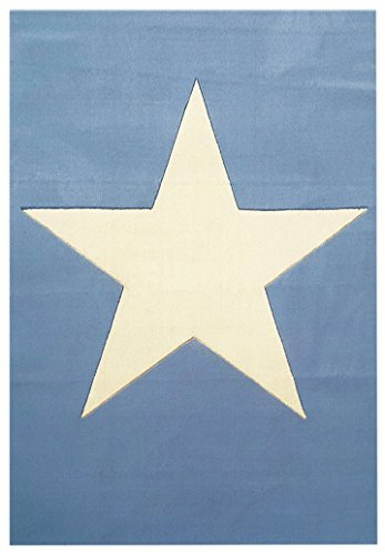 Livone Wollteppich Happy Rugs BIG STAR hellblau/natur 120x180cm