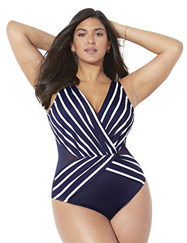 Swimsuits For All Women's Plus Size Surplice One Piece Swimsuit 22 Navy White Stripe