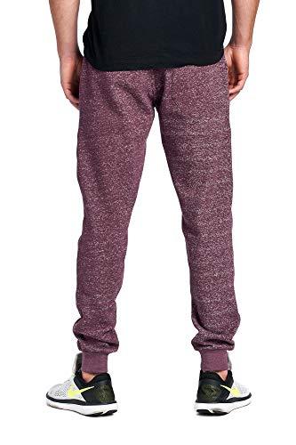 ProGo Men's Joggers Sweatpants Basic Fleece Marled Jogger Pant Elastic Waist (Medium, Marled Burgundy)