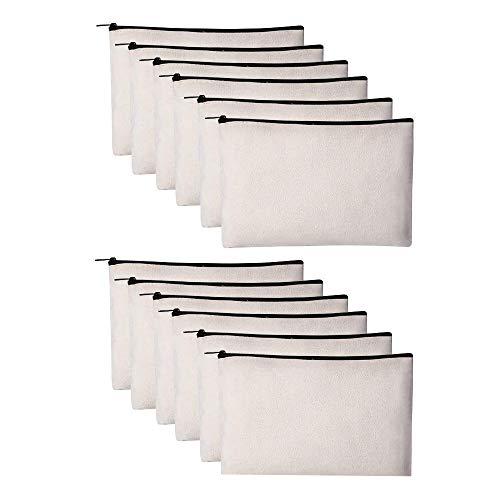 Paquete de 12 bolsas de lona para lápices, manualidades con cremallera en blanco a granel multiusos bolsa de aseo de viaje