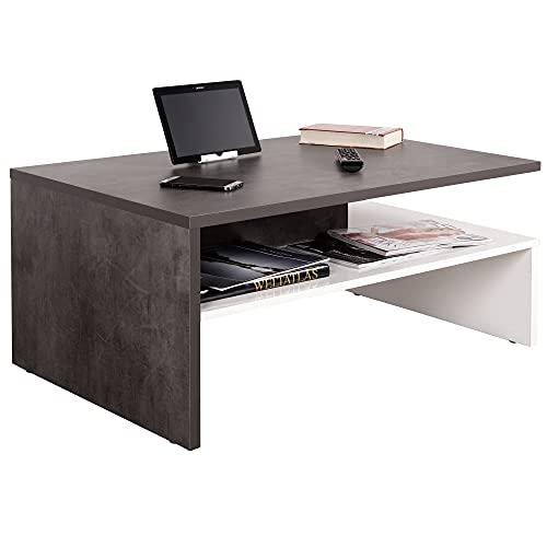 RICOO WM080-W-BG Table Basse 90 x 42 x 60cm Table de Salon avec Rangement Carré Rectangulaire Design Moderne Bois Blanc & Gris Béton