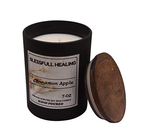 Blessfull Healing Fragrance Cinnamon Apple 100% Soy Wax Scented Candle 7 Oz Matte Black Glass Jar with Wooden Lid Long Burning 100% Vegan Aromatherapy Christmas Gifting Candle