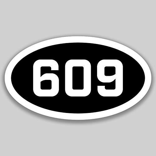 DHDM 609 Area Code Sticker New Jersey Trenton Atlantic City Ewing City Pride Love | 5-Inches by 3-Inches | Premium Quality Vinyl UV Resistant Laminate PD2551