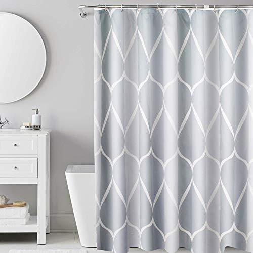 i@HOME Duschvorhang Anti-Schimmel Duschvorhäng Wasserabweisend Shower Curtains Waschbar Anti-Bakteriell Duschvorhänge aus Polyester Badvorhang mit 12 Duschvorhängeringen (Wassertropfen, 180 x 200 cm)