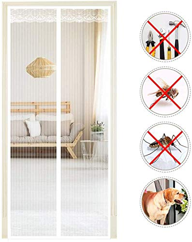 HXCD Fly Screens For Doors Mosquito Door Breathable Mesh Easy To Install for French Doors, In Greenhouse, Household Doors - NQ032-White-85x215cm(33x88inch)