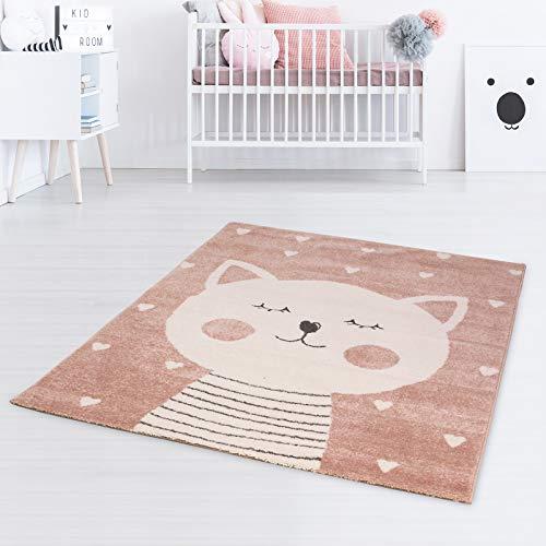 Taracarpet Kinderteppich Spielteppich für Kinderzimmmer und Jugendzimmer Kids Wonderland Verträumte Katze rosa 120x170 cm