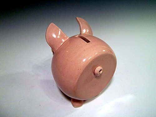 Large Pottery Piggy Bank Pig ~ Pale Pink ~ Handmade Stoneware Ceramic