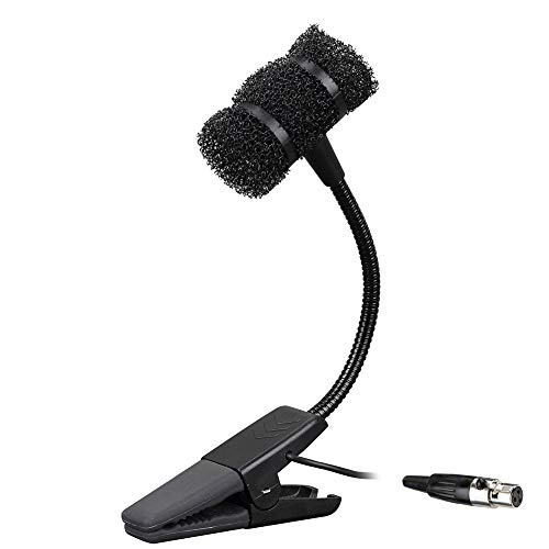 Sujeetec Clip on Gooseneck Instrument Microphone – Cardioid Condenser Microphone for Saxophones Trumpet, Clarinet, Percussion – Rubberized Clip, Flexible Neck with 16.4ft XLR-6.35mm Connector Cable