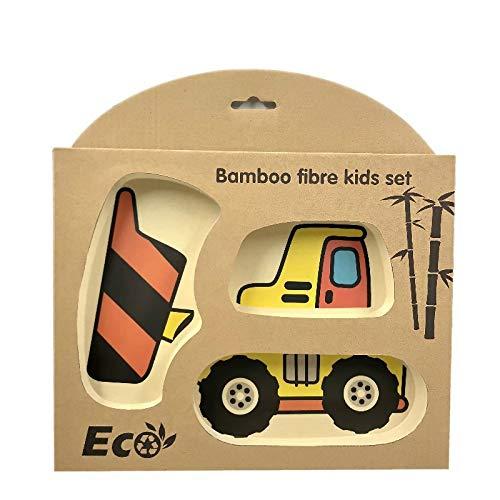 Vajilla de fibra de bambú para niños, placa de partición de coche de dibujos animados, cuenco de arroz anticaída para bebés, vajilla de regalo para niños