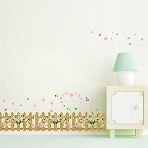 Wandaufkleber Cartoon Gartenzaun Blume Schmetterling Diy Fenster Glas Wand Dekoration Kinder Kinderzimmer Dekor