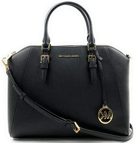 Michael Kors Large Ciara Top Zip Womens Saffiano Leather Satchel (Black)