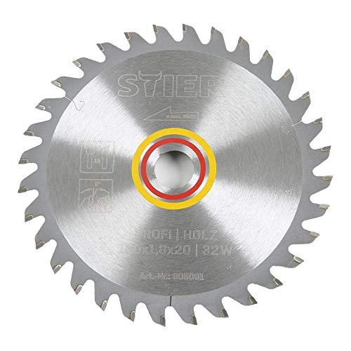STIER Kreissägeblatt Profi Holz, 160 x 1,8 x 20mm, 5° Spanwinkel, 32 gehärtete Zähne, Wechselzahn