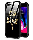iPhone 7 Plus Case,iPhone 8 Plus Case,Gold Rose Pattern Design Girl Tempered Glass Back+Soft Silicone TPU Shock Absorption Bumper Protective Case Compatible for iPhone 7/8 Plus Rose
