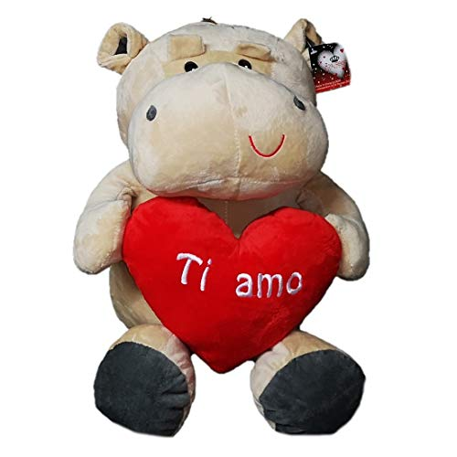 Dor Peluche Ippopotamo San Valentino con Cuore E Scritta Ti Amo 40 cm