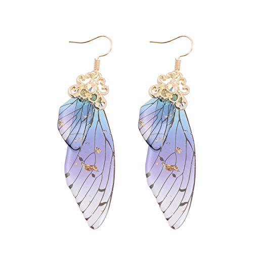Holibanna, orecchini a forma di ali di farfalla, da sposa, fantasia, accessori da donna (bronzo) e plastica, colore: lamina dorata blu, cod. 93ILLRNJ18370FB27N0NIA