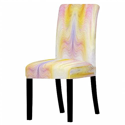 GVJKCZ Fundas para sillas,Curva Creativa Amarillo-Violeta sillas Elásticas y Modernas Funda Asiento Silla,Extraíbles...