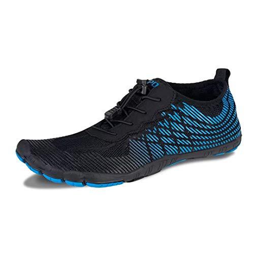 Herren Damen Outdoor Fitnessschuhe Barfußschuhe Trekking Schuhe Badeschuhe Schnell Trocknend rutschfest(Schwarz Blau,5.5 UK,39 EU)