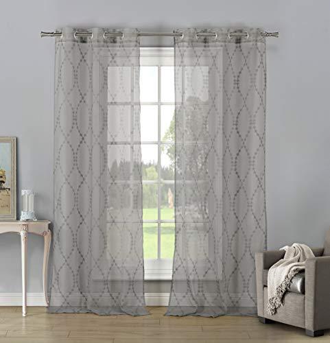 Home Maison Mellie Metallic Ombre Medallion Window Curtain, 38x84, Eggshell White