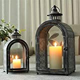 JHY DESIGN Set of 2 Antique Grey Decorative Lanterns Metal Candle Lanterns for Indoor Outdoor Events Parities and Weddings Vintage Style Hanging Lantern