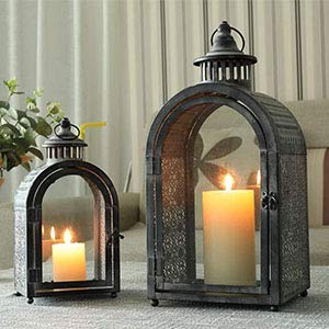JHY DESIGN Set of 2 Antique Grey Decorative Lanterns Metal Candle Lanterns for Indoor Outdoor Events...