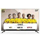 CHiQ Televisor Smart TV LED 50 Pulgadas 4K UHD, HDR 10/HLG, WiFi, Bluetooth (Solo Auriculares y Altavoces), Youtube, Netflix, Prime Video, 3 x HDMI, 2 x USB - U50H7L