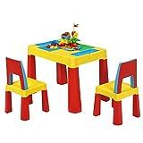 COSTWAY 7 in 1 Kinder Aktivitätstisch Spieltisch Kinderschreibtisch mit Stauraum, Kindersitzgruppe Bausteintisch Sandtisch Wassertisch mit 2 Stühlen ideal für Kinderzimmer und Kindergarten