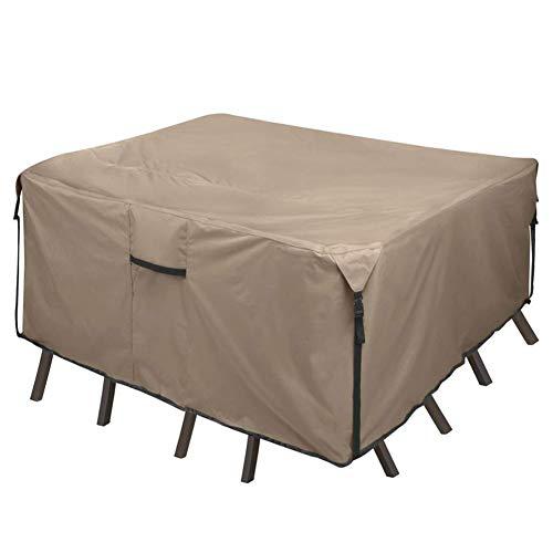 YYQIANG Caqui Cover Set portátil Muebles for la Tabla Silla, Cuadrado/Ronda de Altas Prestaciones Cubierta Impermeable a Prueba de Polvo, 600D Oxford Tela (Color : Khaki, Size : 135 * 135 * 70CM)