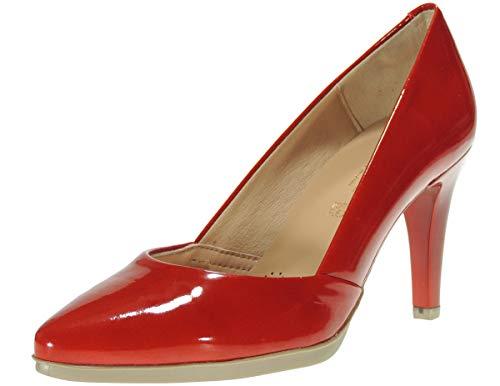 Desiree 2077 Zapato Salón Piel Charol para Mujer Tacón Fino 8CM Piso Goma Planta TotalFlex Rojo Talla 37