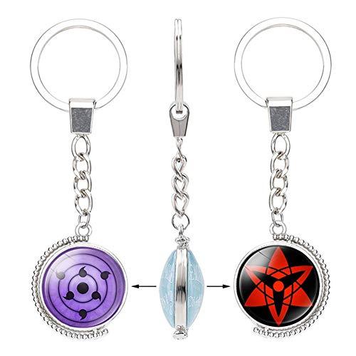 Lecheng Naruto Anime Peripheral Time Gem doppelseitig rotierenden Schlüsselanhänger Anhänger, schreiben rundes Auge, neun Haken Jade-Zyklus(1)