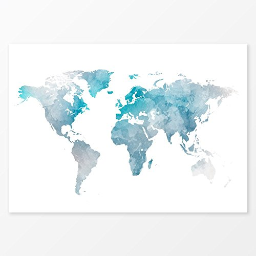 Blue Watercolor World Map Wall Art, Size 11x14, Travel Map Print, 200 gsm Poster Paper